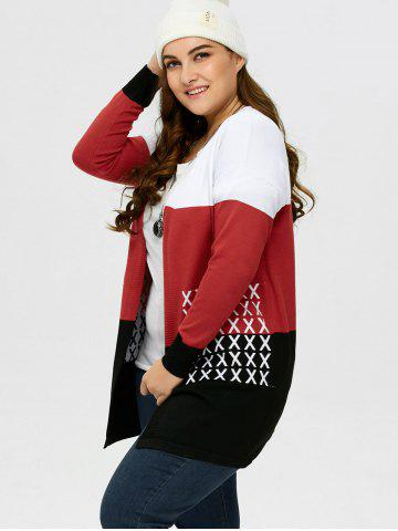 Affordable Plus Size Drop Shoulder Knit Cardigan - 2XL BLACK AND WHITE AND RED Mobile