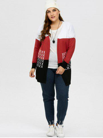 Cheap Plus Size Drop Shoulder Knit Cardigan - XL BLACK AND WHITE AND RED Mobile