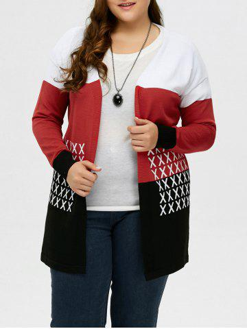 Affordable Plus Size Drop Shoulder Knit Cardigan - XL BLACK AND WHITE AND RED Mobile