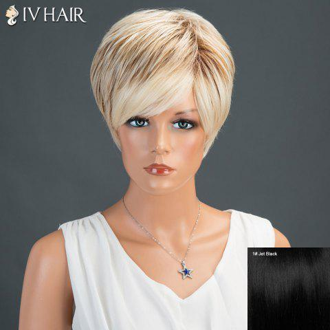 New Short Side Bang Straight Layered Siv Human Hair Wig - JET BLACK 01#  Mobile