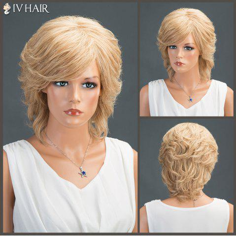 Cheap Layered Short Oblique Bang Slightly Curled Siv Human Hair Wig