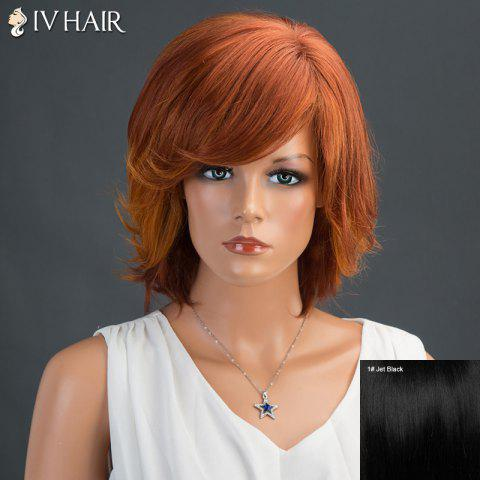 Shops Short Fluffy Inclined Bang Layered Straight Siv Human Hair Wig