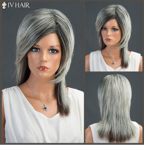Shop Long Fluffy Side Parting Straight Siv Human Hair Wig
