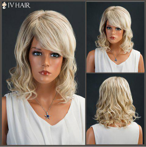 Outfit Meidum Fluffy Side Bang Shaggy Curly Siv Human Hair Wig