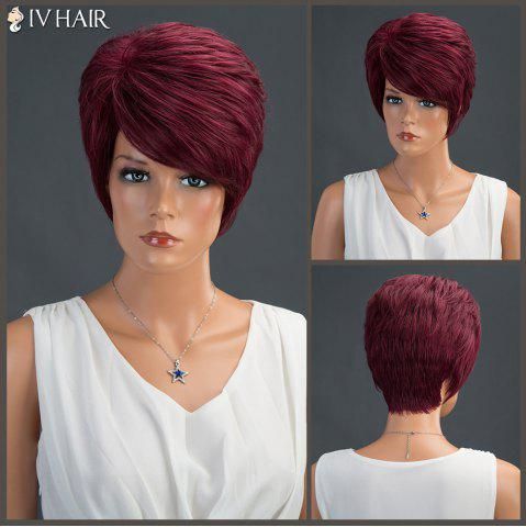 Fashion Layered Short Shaggy Side Bang Straight Siv Human Hair Wig