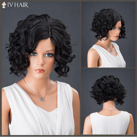 Short Side Parting Curly Shaggy Siv Human Hair Wig - JET BLACK