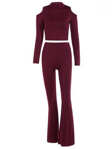 Cold Shoulder Cropped Top and Flared Pants