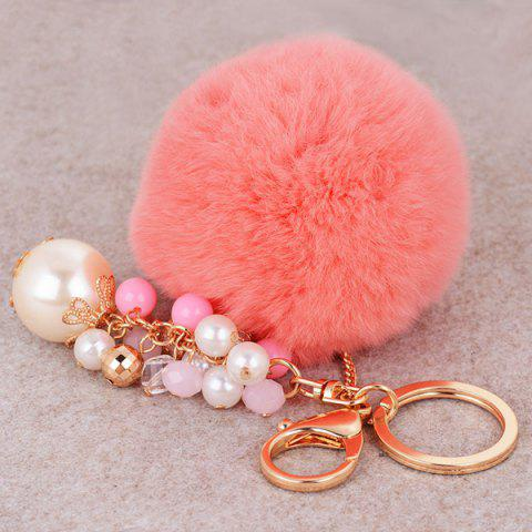 New Artificial Pearl Beads Fuzzy Ball Keyring - PINK  Mobile