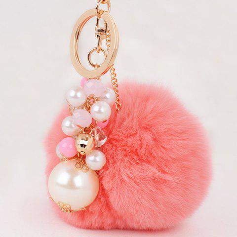 Artificial Pearl Beads Fuzzy Ball Keyring - PINK