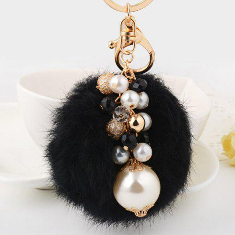 Store Artificial Pearl Beads Fuzzy Ball Keyring - BLACK  Mobile
