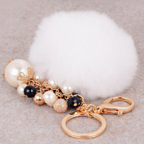 Unique Artificial Pearl Beads Fuzzy Ball Keyring - WHITE  Mobile
