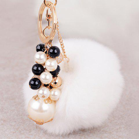 Buy Artificial Pearl Beads Fuzzy Ball Keyring - WHITE  Mobile