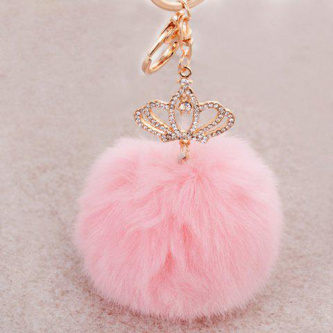 Affordable Rhinestone Crown Fuzzy Puff Ball Keyring PINK