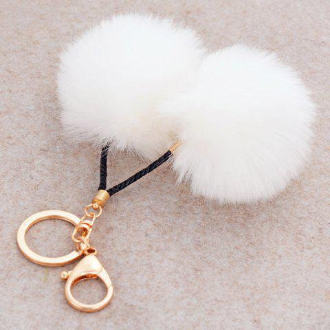 Outfit Fuzzy Ball Keyring Clip Keychain - WHITE  Mobile