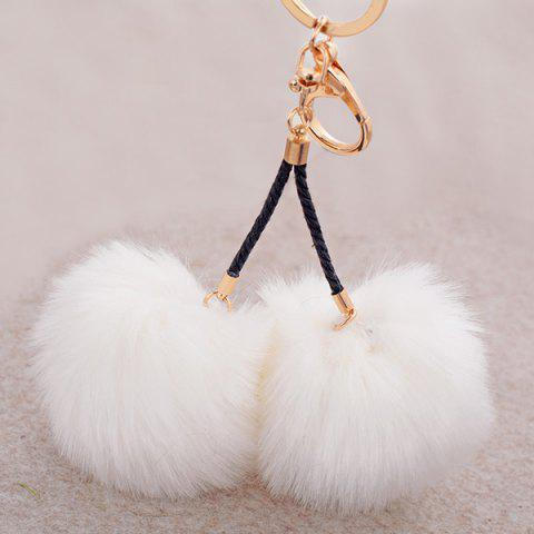 Shop Fuzzy Ball Keyring Clip Keychain - WHITE  Mobile
