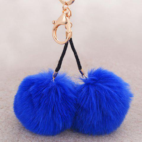 Discount Fuzzy Ball Keyring Clip Keychain BLUE