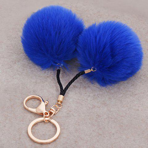 Affordable Fuzzy Ball Keyring Clip Keychain - BLUE  Mobile