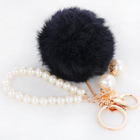 Fancy Faux Pearl Beaded Fuzzy Ball Keyring