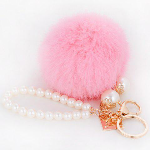 Trendy Faux Pearl Beaded Fuzzy Ball Keyring - PINK  Mobile