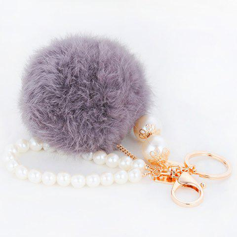Chic Faux Pearl Beaded Fuzzy Ball Keyring