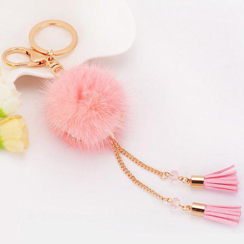 Outfits Tassel Fuzzy Ball Keyring Clip Keychain PINK