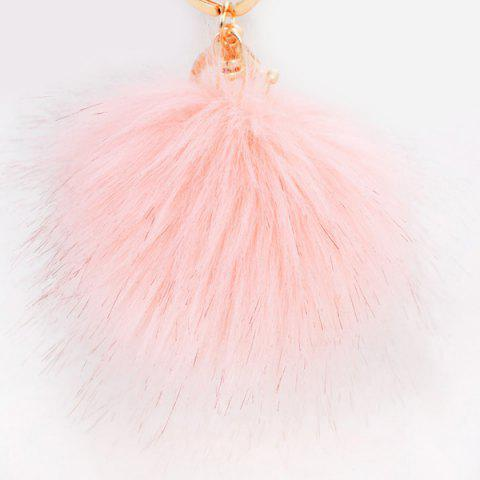 Discount Round Fuzzy Ball Keyring PINK