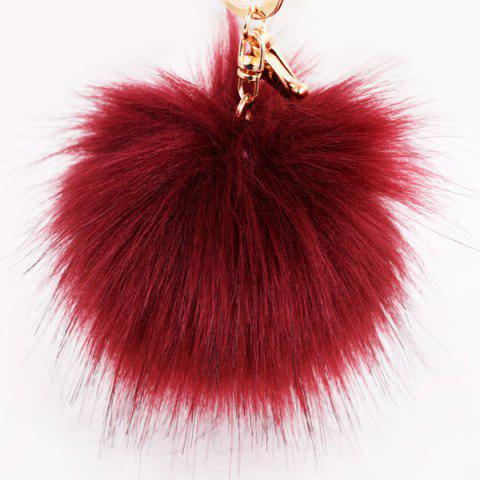Outfits Round Fuzzy Ball Keyring - BURGUNDY  Mobile