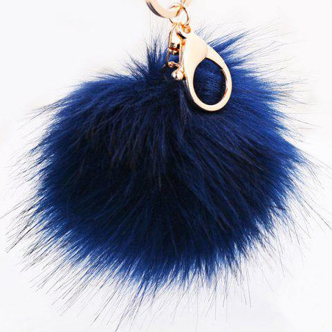 Latest Round Fuzzy Ball Keyring CERULEAN