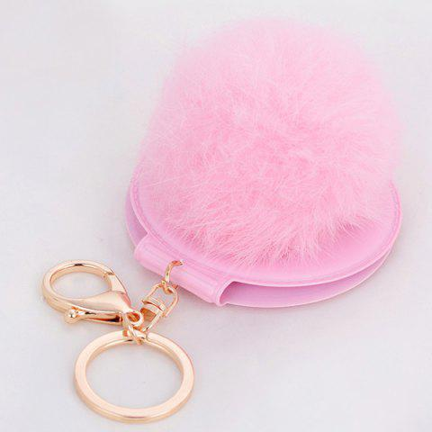 Buy Mirror Fuzzy Puff Ball Keyring PINK