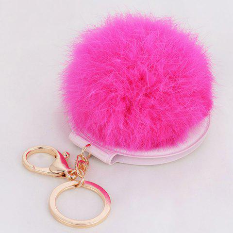 Hot Mirror Fuzzy Puff Ball Keyring