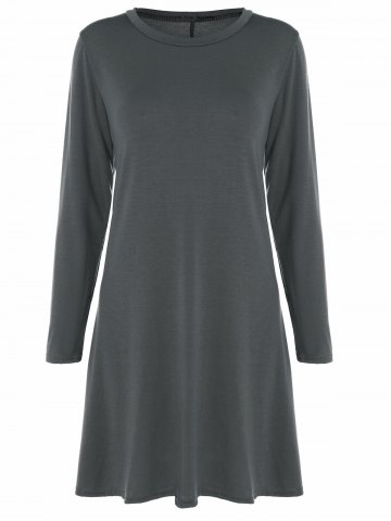 Unique Long Sleeve Plain Swing Dress DEEP GRAY XL