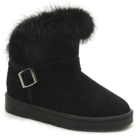Shop Faux Fur Buckle Strap Snow Boots