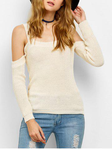 Sale Chunky Cold Shoulder Loose Sweater OFF-WHITE L
