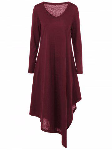 Cheap Asymmetrical V Neck Long Sleeved Maxi Casual Dress DEEP RED 5XL