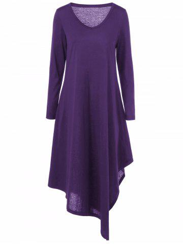Asymmetrical V Neck Long Sleeved Maxi Casual Dress - Purple - 4xl