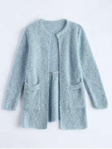 Open Front Knit Cardigan with Pockets - Light Blue - One Size