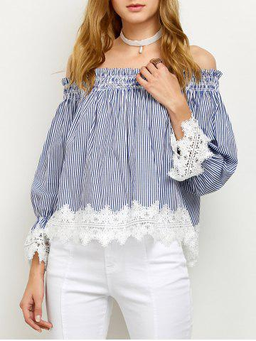 Store Off Shoulder Lace Panel Striped Blouse