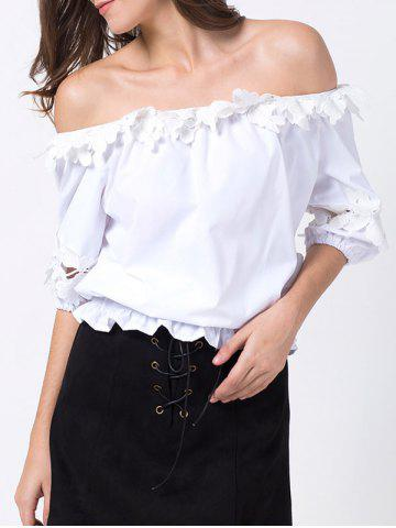 Fashion Off Shoulder Lacework Cropped Blouse