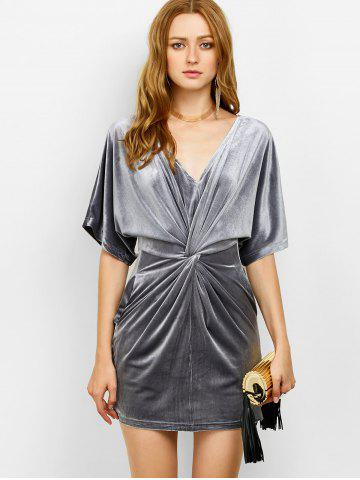 Shop V Neck Velvet Twist Front Dress