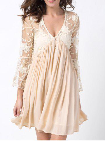 Chic Plunging Neck Flare Sleeve Lace Panel Dress OFF WHITE 2XL