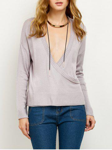 Outfits V Neck Surplice Sweater SMASHING L