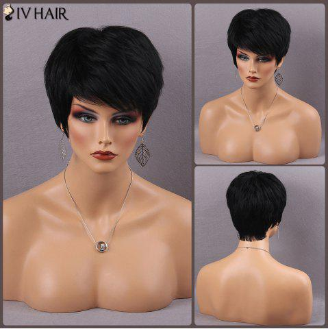 Best Siv Hair Short Fluffy Side Bang Straight Real Natural Hair Wig