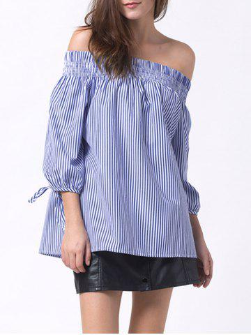 Store Smocked Off The Shoulder Striped Blouse