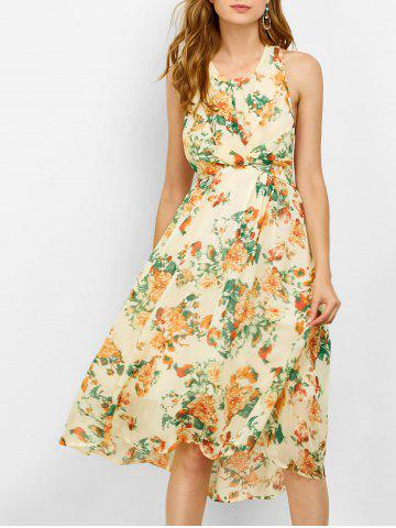 Chic Floral Backless Bohemian Swing Beach Dress