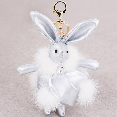 Faux Leather Animal Keychains Rabbit Bag Pendant Keyring - Silver