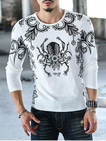 Fashion Casual Round Neck Printed T-Shirt WHITE 4XL