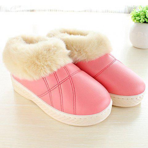 Chic Flocking PU Leather Platform House Slippers