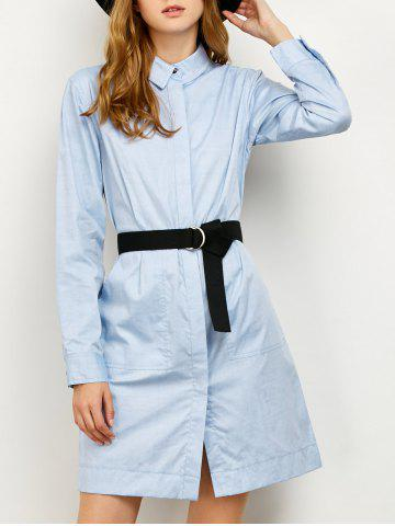 Discount Long Sleeves Belted Midi Shirt Dress