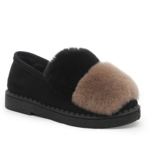 Latest Slip On Color Block Furry Flat Shoes