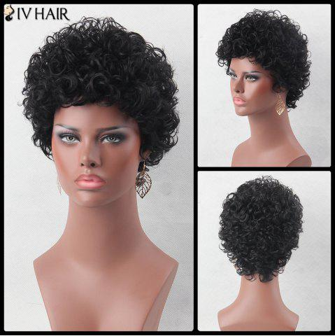 Chic Ultra Short Shaggy Curly Siv Human Hair Wig